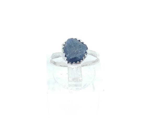 Raw Blue Sapphire Ring | Sterling Silver Ring Sz 5 | Raw Blue Sapphire Jewelry | Raw Stone Ring | Blue Crystal | September Birthstone Ring