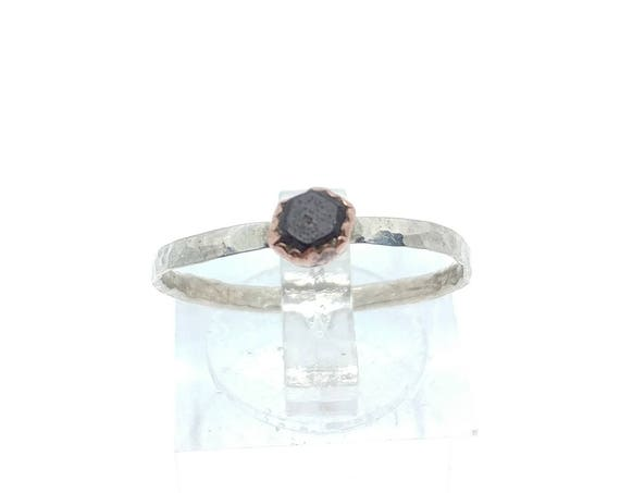 Raw Garnet Stacking Ring | Sterling Silver Copper Ring Sz 8 | Raw Garnet Ring | Raw Stone Jewelry | Mixed Metal Ring | Garnet Stacker Ring