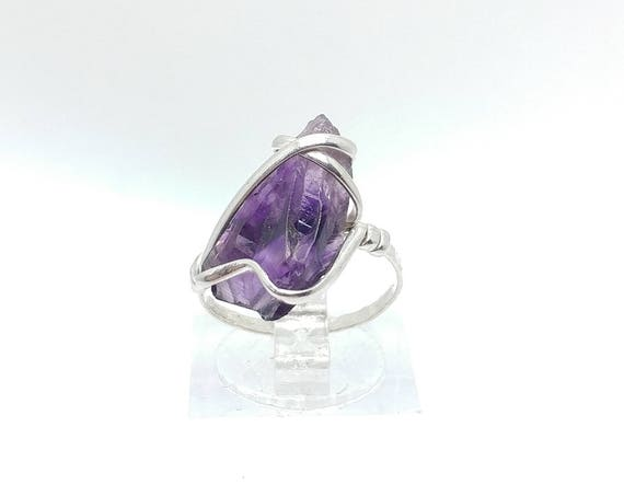 Raw Amethyst Ring | Sterling Silver Ring Sz 5.5 | Raw Stone Ring | Raw Crystal Ring | Chevron Amethyst Jewelry | Rough Purple Quartz Ring