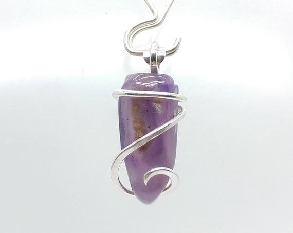 Holley Blue Agate Necklace | Purple Chalcedony Pendant | Eco Friendly Sterling Silver | Purple Stone Pendant | Banded Agate Pendant