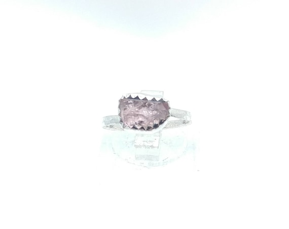 Raw Pink Tourmaline Crystal Ring in Sterling Silver Sz 5.25