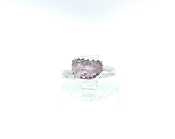 Raw Pink Tourmaline Ring | Sterling Silver Ring Sz 5.25  | Raw Tourmaline Ring | Raw Crystal Ring | Uncut Gemstone Ring