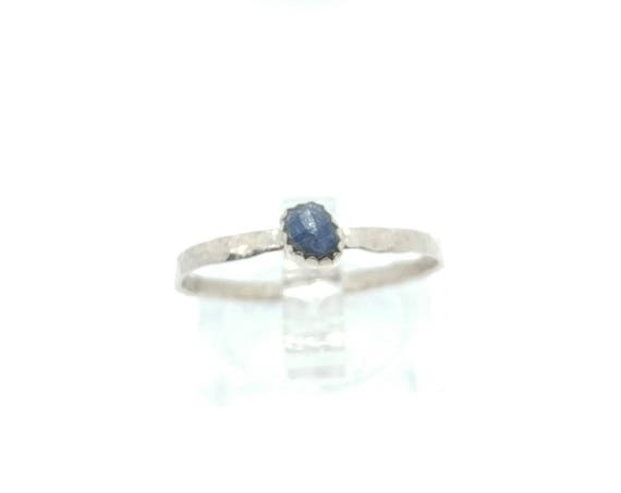 Raw Blue Sapphire Pebble Stone Stacking Ring in Sterling Silver Sz 8.75 a September Birthstone Jewelry Gift One of Our Best Selling Items