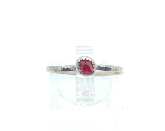 Hot Pink Spinel Crystal Stone Stacking Ring in Sterling Silver Sz 8.75