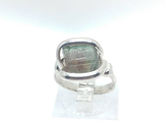 Multicolor Tourmaline Crystal Ring | Raw Stone Ring | Sterling Silver Ring Sz 6 | Rough Crystal Ring | October Birthstone Jewelry