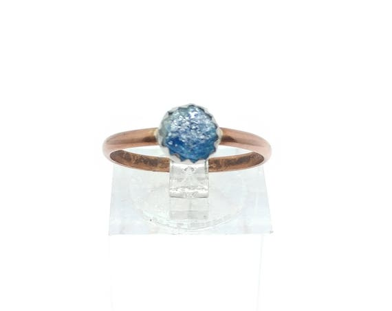 Raw Blue Tourmaline Crystal Ring Mixed Metal Copper Sterling Silver Sz 7.5