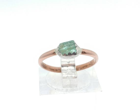 Raw Green Tourmaline Crystal Ring in Mixed Metal Silver Copper Sz 6.5 October Birthstone