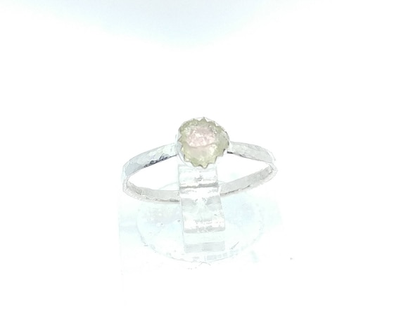 Raw Watermelon Tourmaline Crystal Ring in Sterling Silver Sz 5.5