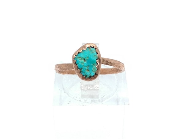 Raw Crystal Ring   Raw Turquoise Ring   Copper Ring Sz 5.5   Turquoise Nugget Ring   Rustic Womens Ring   Natural Turquoise Ring