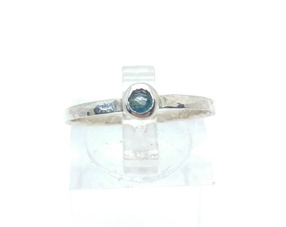 Tiny Blue Sapphire Stacking Ring in Sterling Silver Sz 7.75 September Birthstone Jewelry