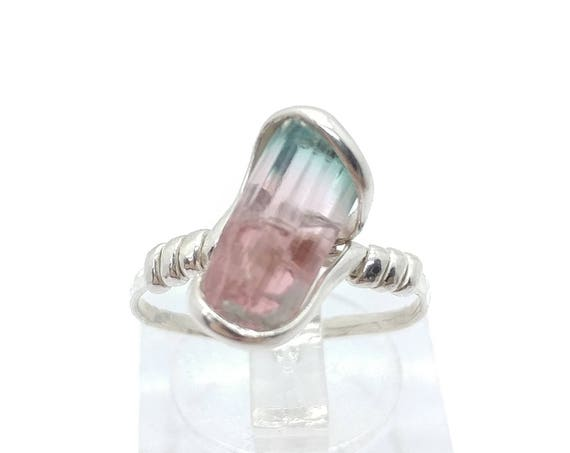 Pink Blue Cap Tourmaline Crystal Ring | Raw Stone Ring | Sterling Silver Ring Sz 6.25 | Rough Crystal Ring | October Birthstone Jewelry