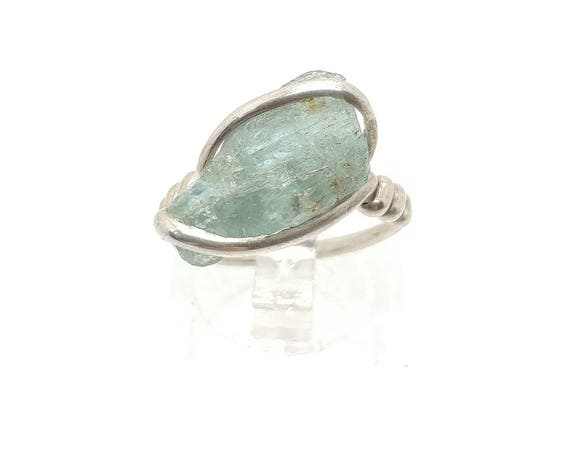 Rough Aquamarine Crystal Ring in Sterling Silver Sz 5.5