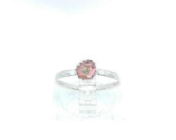 Raw Watermelon Tourmaline Ring in Sterling Silver Sz 5.5