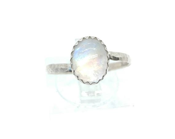 Simple Moonstone Ring | Rainbow Moonstone Ring | Sterling Silver Ring Sz 7 | Ice Clear Moonstone Ring | June Birthstone Ring