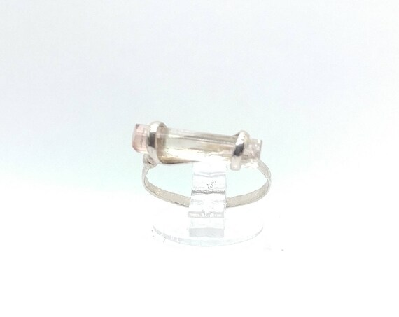 Raw Crystal Bar Ring | Pink Tourmaline Crystal Ring | Sterling Silver Ring Sz 5.5 | Rough Tourmaline Ring | Raw Tourmaline Ring