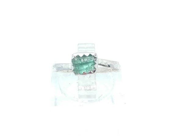 Green Blue Tourmaline Crystal Ring | Sterling Silver Ring Sz 5  | Raw Blue Tourmaline Ring | Raw Crystal Ring | Uncut Gemstone Ring