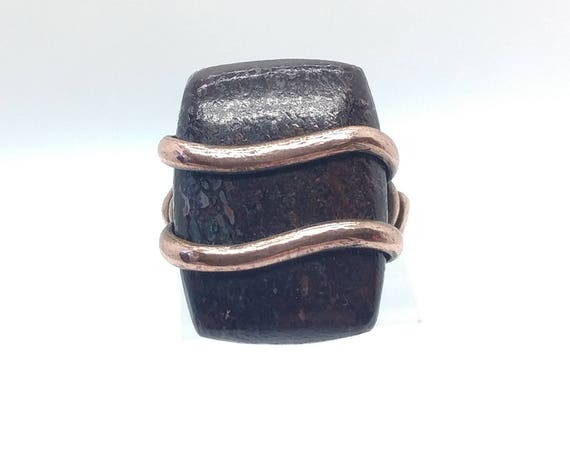 Dinosaur Bone Ring | Copper Ring Sz 6.75 | Dinosaur Fossil Ring | Rectangle Ring | Rectangle Stone Ring | Gembone Jewelry | Mens Fossil Ring