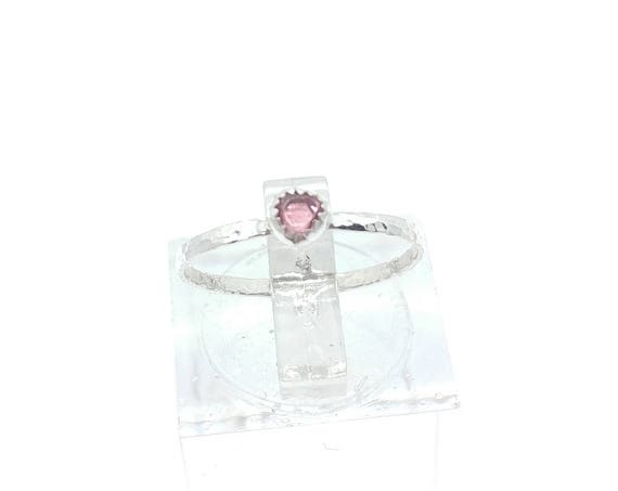 Hot Pink Spinel Crystal Stone Ring in Sterling Silver Sz 4.75