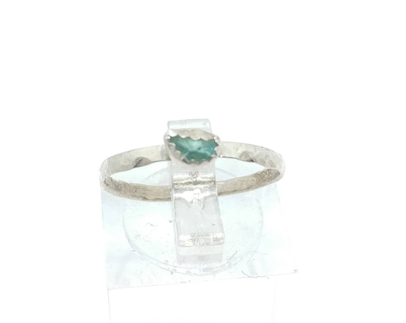Apatite Stacking Ring | Sterling Silver Copper Ring Sz 8 | Raw Apatite Ring | Raw Stone Jewelry | Mixed Metal Ring | Blue Apatite Ring