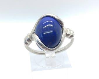 Lapis Lazuli Ring | Sterling Silver Ring Sz 9.25 | Blue Stone Ring | Dark Blue Stone Ring | Blue Lapis Ring | Gemstone Ring