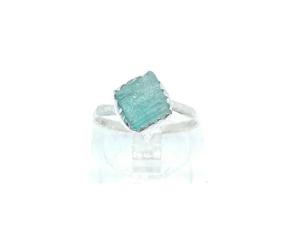 Raw Blue Tourmaline Crystal Ring in Sterling Silver Sz 5.5