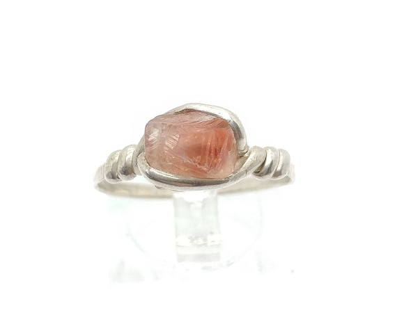 Raw Crystal Ring | Raw Oregon Sunstone Ring | Sterling Silver Ring Sz 8.75 | Red Oregon Sunstone Ring | Raw Stone Engagement Ring