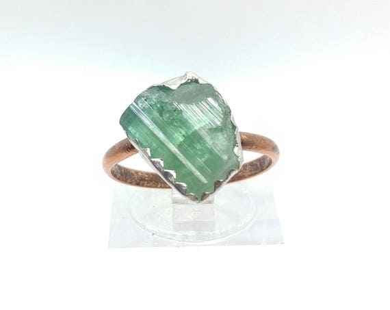 Raw Tourmaline Crystal Ring Mixed Metal Sterling Silver Copper Ring Sz 7