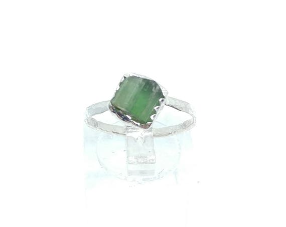 Green Tourmaline Crystal Ring | Sterling Silver Ring Sz 7  | Raw Green Tourmaline Ring | Raw Crystal Ring | Uncut Gemstone Ring