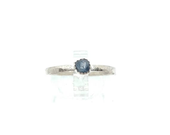 Raw Blue Sapphire Stack Ring   Sterling Silver Ring Sz 9.75   Raw Sapphire Ring   Blue Sapphire Ring   Raw Sapphire Stacking Ring