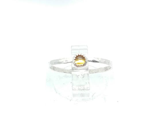 Sunshine Yellow Sapphire Stacking Ring in Sterling Silver Ring Sz 5.25 September Birthstone Jewelry