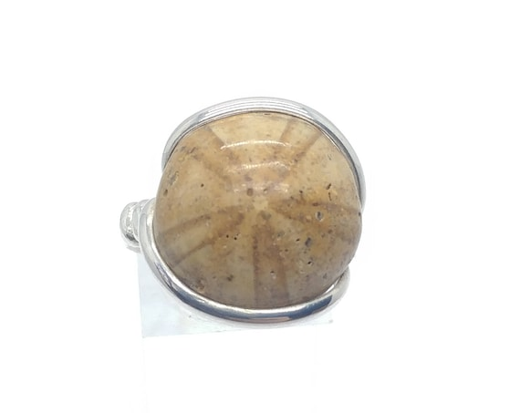 Sand Dollar Fossil Ring in Sterling Silver Sz 9.75 Perfect Mens or Large Finger Band for Mermaid Costume