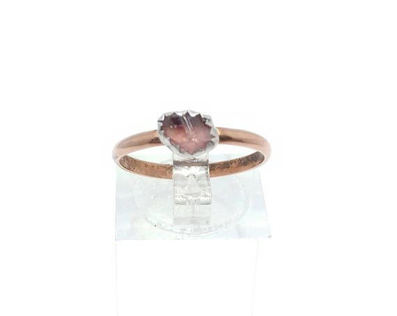 Raw Pink Tourmaline Crystal Stone Ring in Mixed Metal Sterling Silver Copper Band Sz 7.5