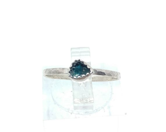Raw Tourmaline Stacking Ring | Sterling Silver Ring Sz 6 | Raw Tourmaline Ring | Blue Tourmaline Stacker Ring | Raw Tourmaline Crystal Ring