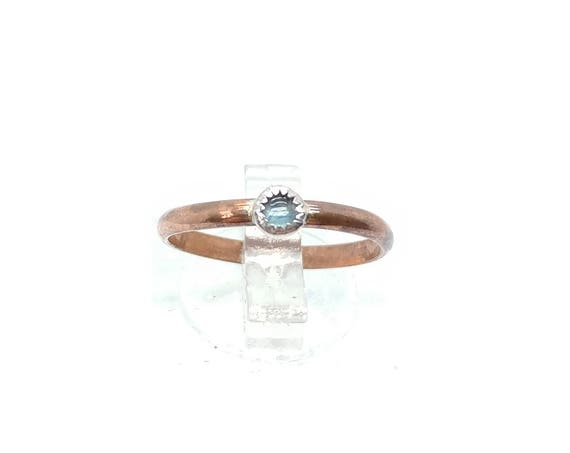 Dainty Natural Blue Sapphire Stacking Ring in Sterling Silver with Copper Band Sz 5.75 September Birthstone Jewelry