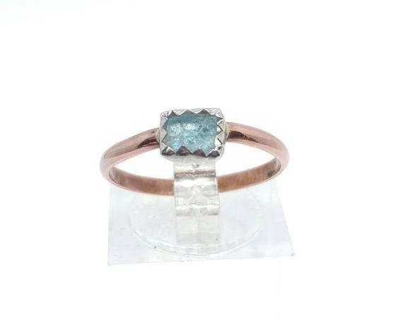 Raw Aquamarine Ring | Mixed Metal Ring Sz 7.5 | Raw Blue Aquamarine Ring | Raw Crystal | Raw Stone | Caribbean Blue Crystal Jewelry
