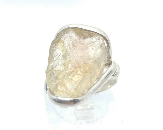 Raw Crystal Ring | Oregon Sunstone Ring | Rough Crystal Ring | Sterling Silver Ring Sz 6.5 | Schiller Oregon Sunstone Ring | Raw Stone Ring