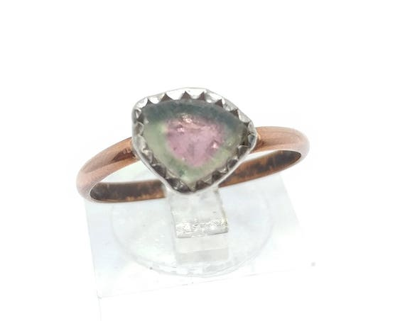 Watermelon Tourmaline Slice Ring in Mixed Metal Sterling Silver Copper Ring sz 7.75