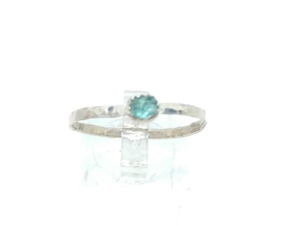Apatite Stacking Ring | Sterling Silver Copper Ring Sz 12.5 | Raw Apatite Ring | Raw Stone Jewelry | Mixed Metal Ring | Blue Apatite Ring