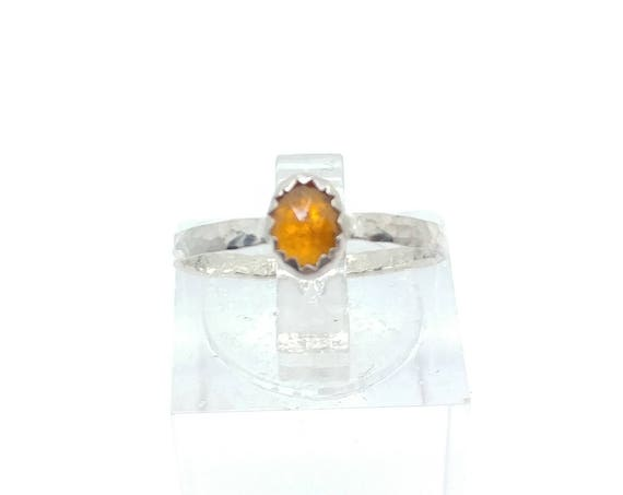 Rose Cut Orange Sapphire Ring in Sterling Silver Ring Sz 5.75