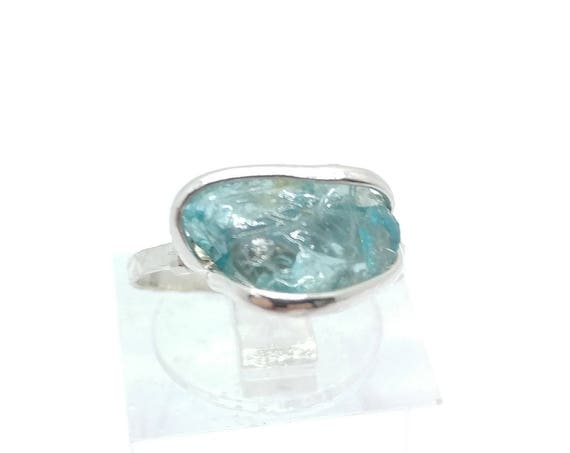 "Raw Crystal Ring | Blue Zircon Ring | Raw Blue Zircon Ring | Sterling Silver Ring Sz 5 | Raw ""Diamond"" Ring | Raw Engagement Ring"