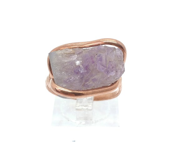 Raw Amethyst Ring | Copper Ring Sz 9 | Raw Stone Ring | Raw Crystal Ring | Druzy Amethyst Crystal Ring | February Birthstone Ring