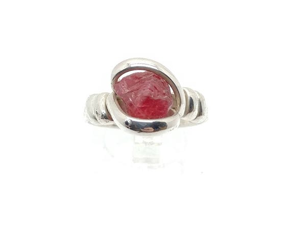 Raw Hot Pink Red Spinel Crystal Stone Ring in Sterling Silver Sz 8 One of Our Best Selling Items