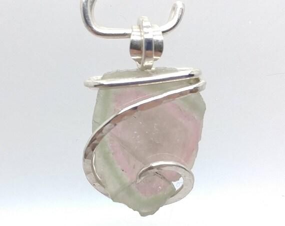 Tourmaline Slice Necklace | Watermelon Tourmaline Necklace | Sterling Silver Pendant | Bi Color Tourmaline | Green | Pink | Raw Cut Crystal