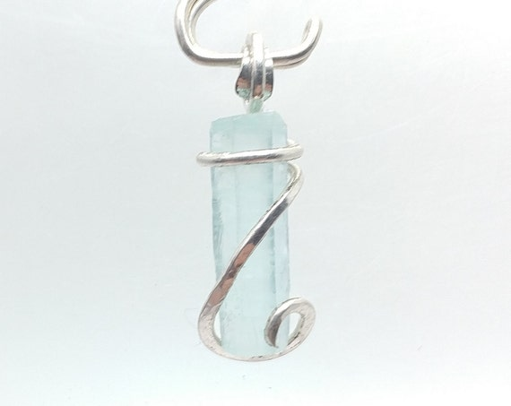 Raw Aquamarine Crystal Pendant in Sterling Silver