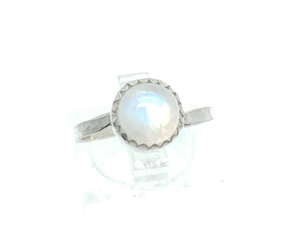 Moonstone Ring | Sterling Silver Ring Sz 7.25 | Rainbow Moonstone Ring | Non-Diamond Engagement Ring | Diamond Alternative | Blue Moonstone