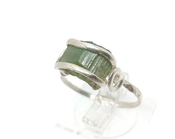 Green Tourmaline Crystal Ring | Sterling Silver Ring Sz 6.75  | Rough Tourmaline Ring | Raw Tourmaline | Uncut Gemstone | October Birthstone