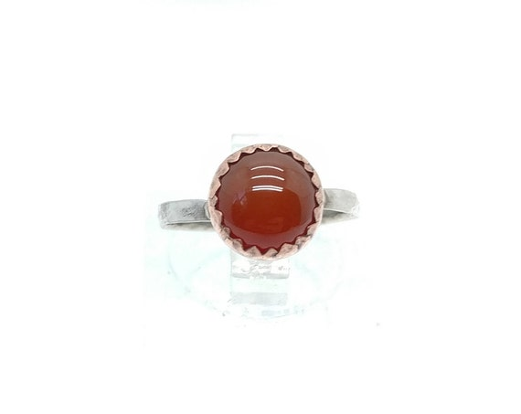 Carnelian Stone Ring | Copper & Sterling Silver Ring Sz 4.25 | Mixed Metals Ring | Carnelian Agate Ring | Red Stone Ring | Boho Ring