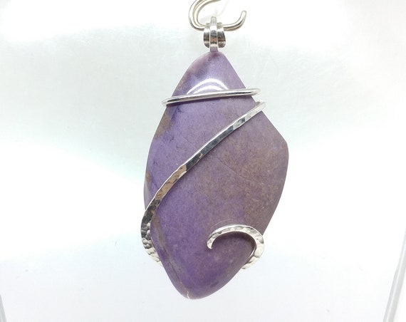 Big Purple Burro Creek Agate Stone Pendant in Hammered Sterling Silver a Rare Stone Mined in Arizona Great Anniversary Gift for Your Wife