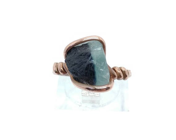 Rustic Ring | Raw Tourmaline Ring | Copper Ring Sz 7 | Rough Tourmaline Ring | Rustic Womens Ring | Blue Tourmaline Crystal Ring