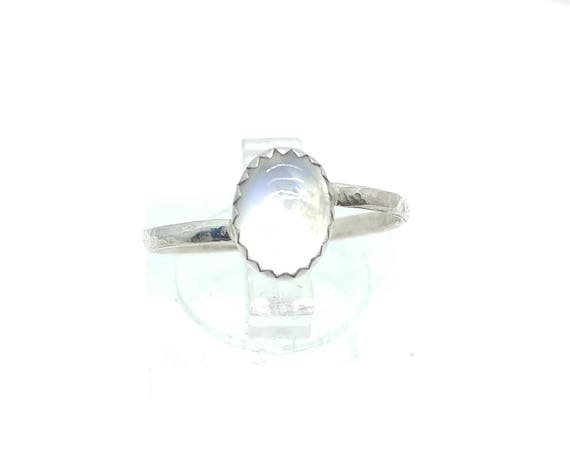 Simple Moonstone Ring | Blue Moonstone Ring | Sterling Silver Ring Sz 7 | Ice Clear Moonstone Ring | June Birthstone Ring
